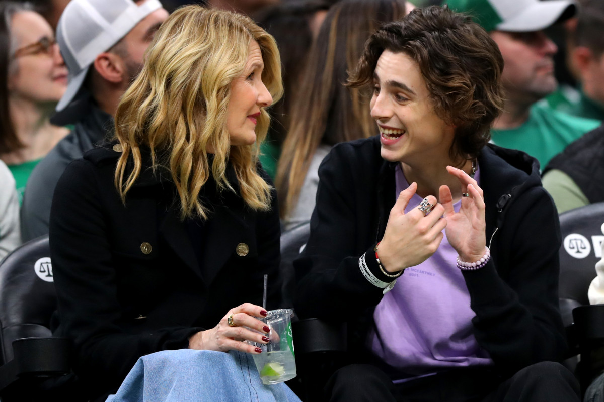Laura Dern and Timothée Chalamet at a basketball game in Boston. Photo: Maddie Meyer/Getty Images.