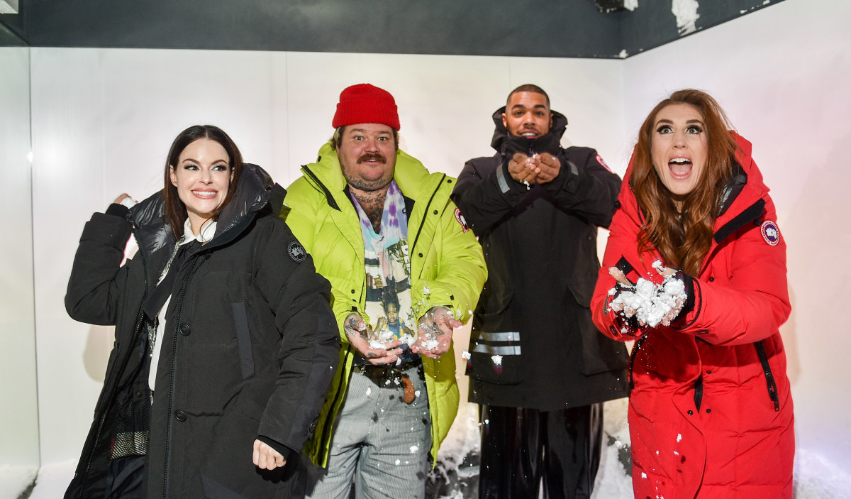 Stevie from 'Schitt's Creek' Emily Hampshire, along with Canadian celebrities Matty Matheson, Donté Colley and Jessi Cruickshank in the Cold Room at The Journey launch party at Sherway Gardens.