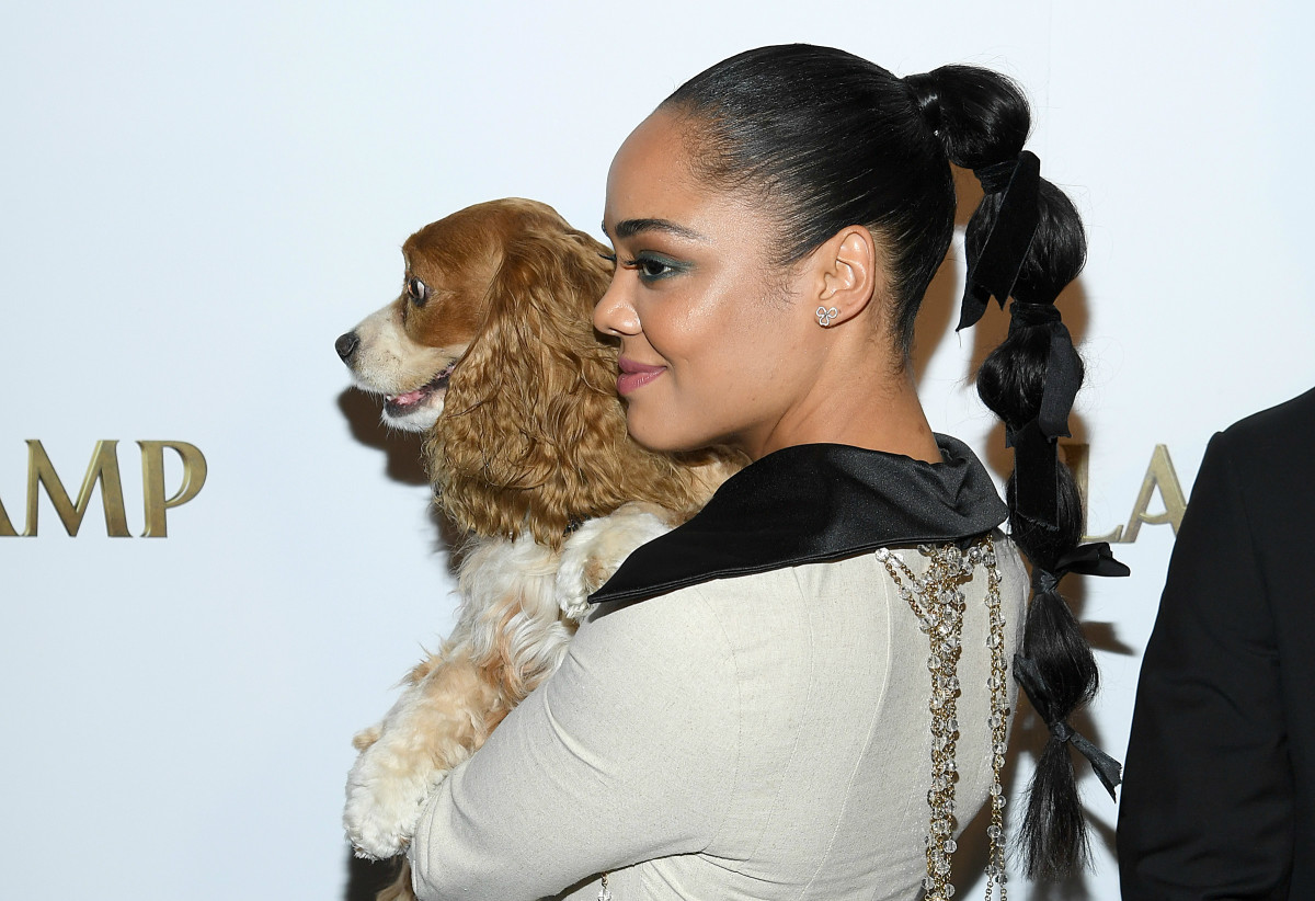 Tessa Thompson and a pup at the Disney+ screening of 'Lady and the Tramp.'
