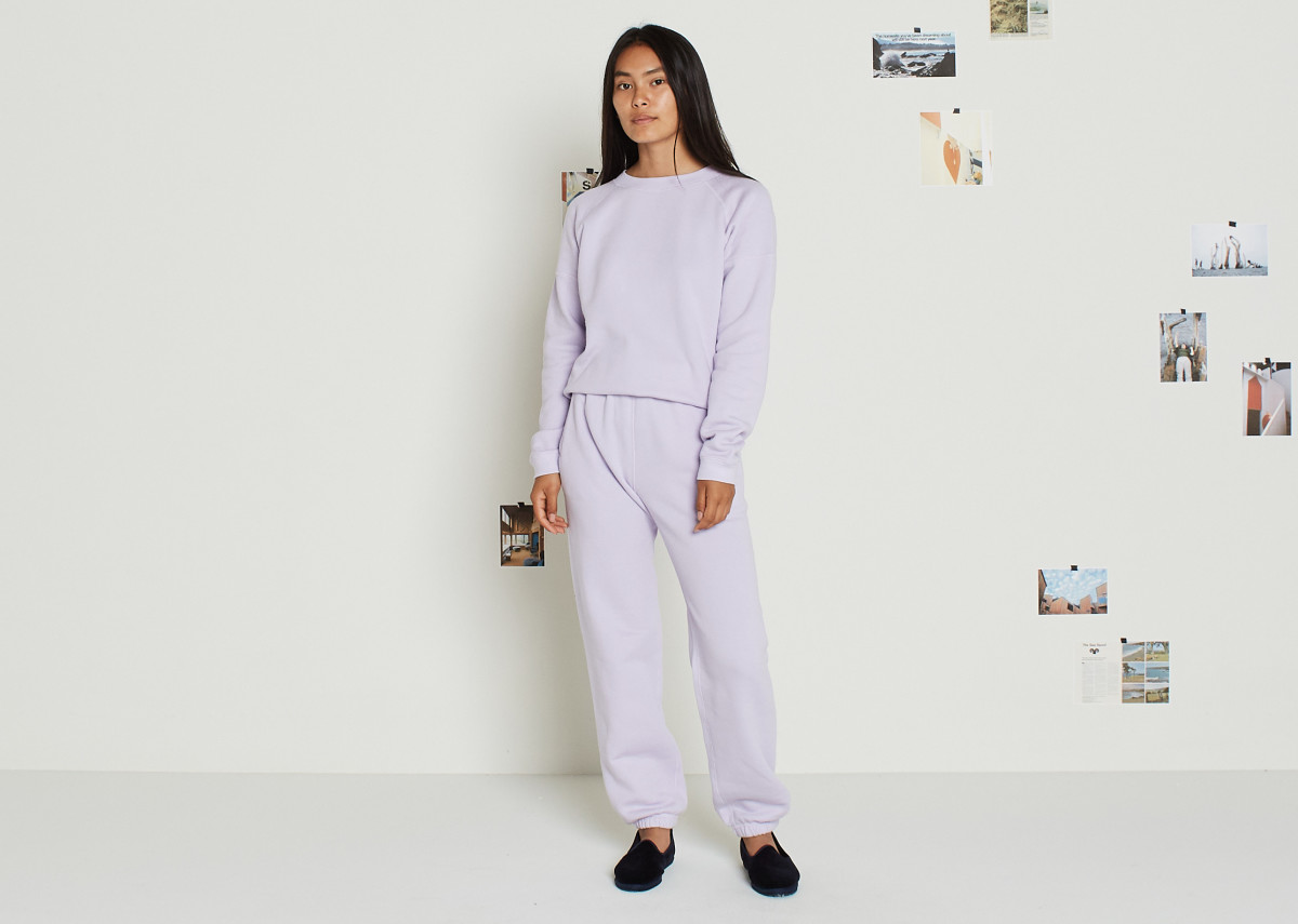 Entireworld Cozy Brushed Sweatshirt, $88, and Cozy Brushed Sweatpants, $88, in Lilac, available here and here.