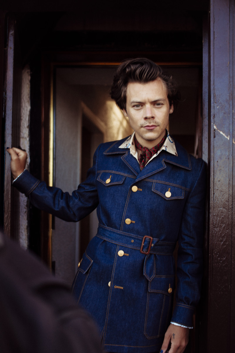 "Harry Styles in Gucci during the making of his music video for ""Adore You."""