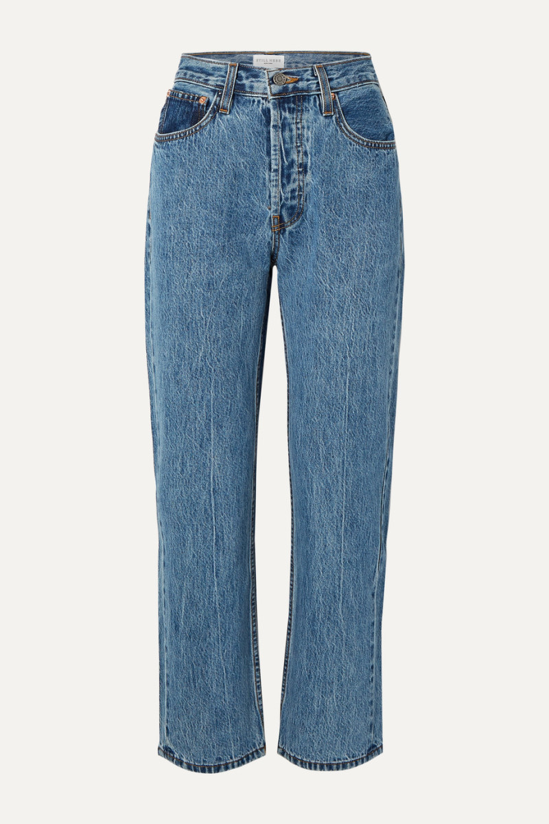 Still Here Tate Cropped Striped High-Rise Straight-Leg Jeans, $280, available here.