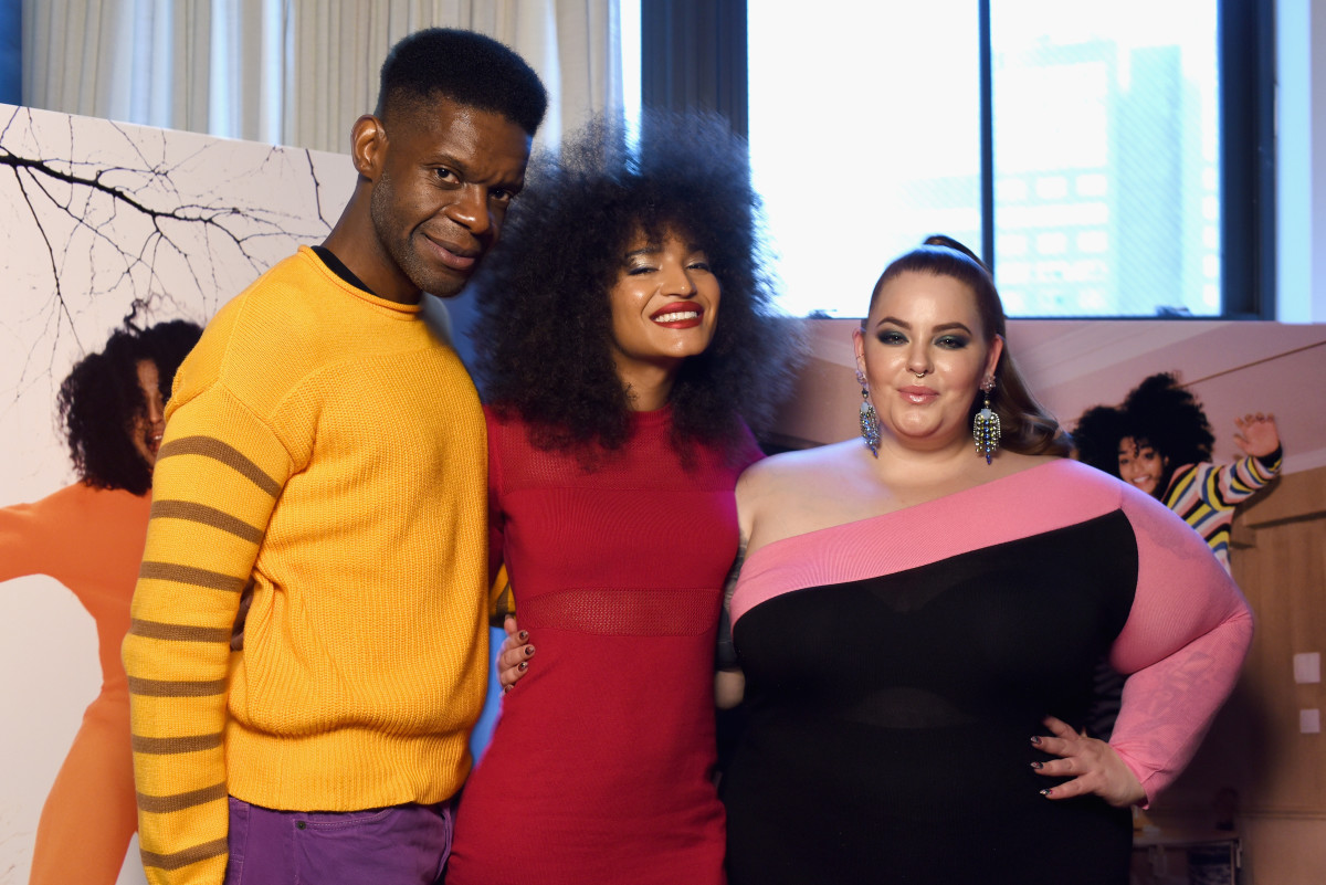 Glemaud with Indya Moore and Tess Holliday — both wearing Glemaud — at his Fall 2019 presentation during New York Fashion Week in February 2019.