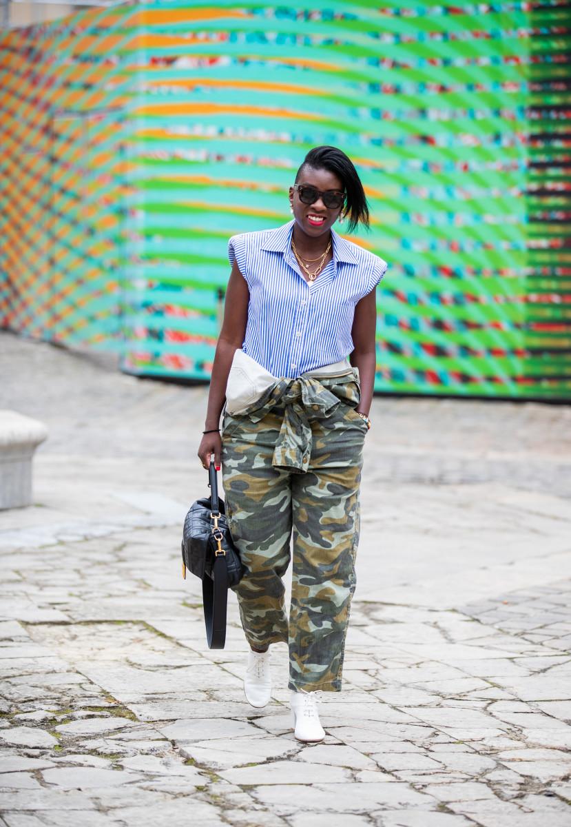 Nikki Ogunnaike on the street at Paris Fashion Week Spring 2020.