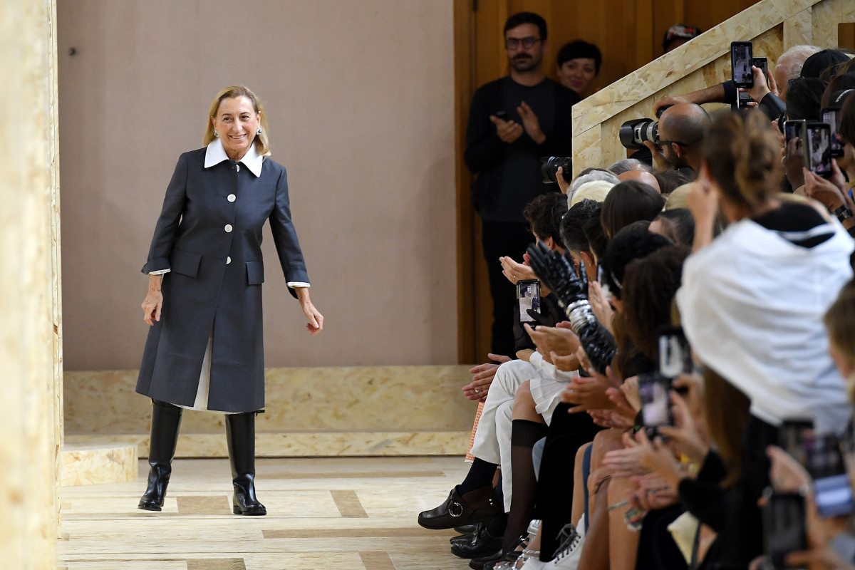 Miuccia Prada at Paris Fashion Week Spring 2020.