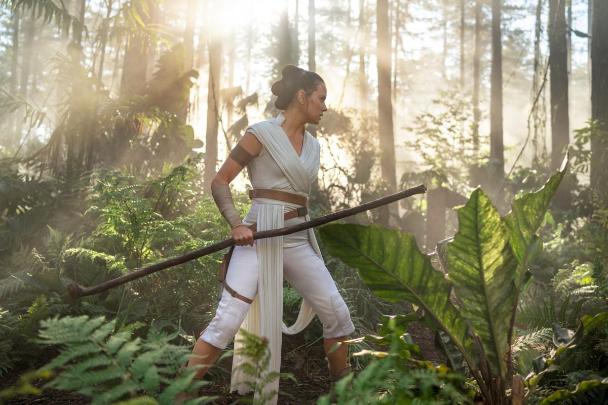 Rey (Daisy Ridley) in training.