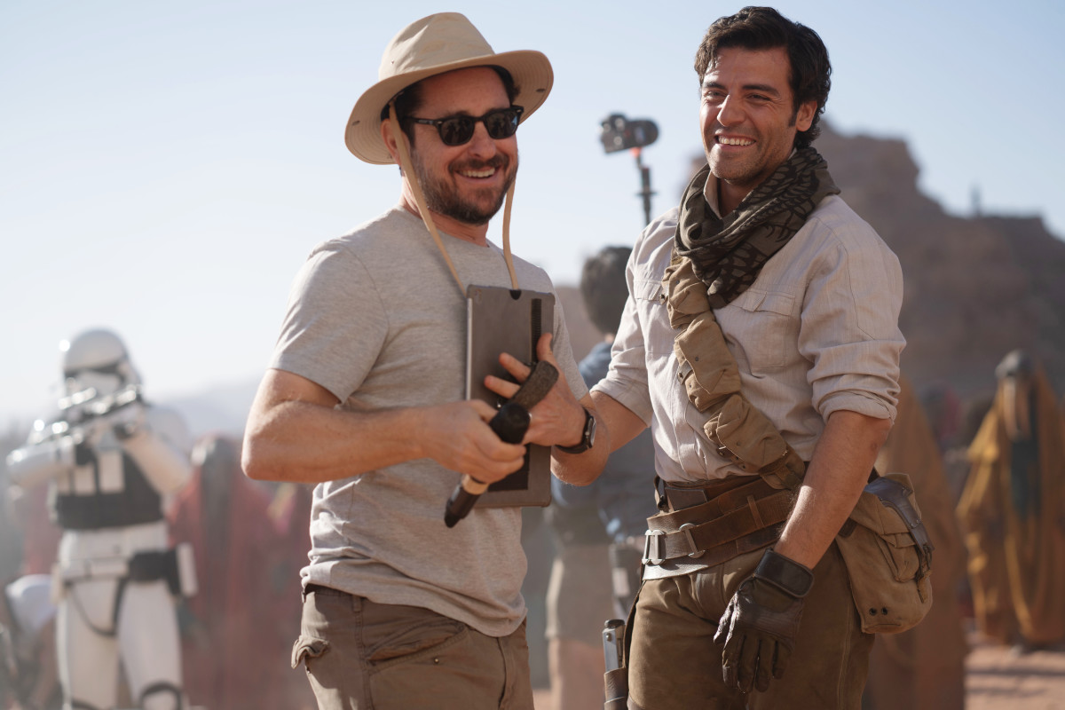 Director J.J. Abrams with Oscar Isaac in his intergalactic meets 'classic Hollywood' drip.
