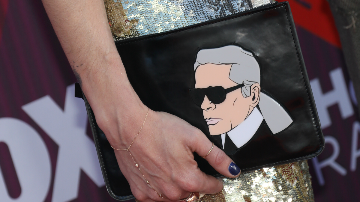 Handbag picturing Karl Lagerfeld at the 2019 iHeartRadio Music Awards.