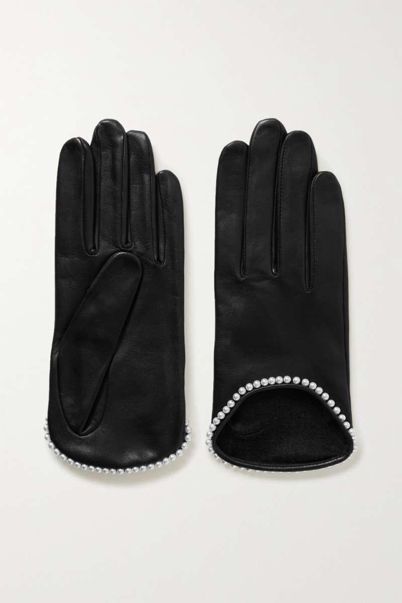 Agnelle Sofia Faux Pearl-Embellished Leather Gloves, $170, available here.
