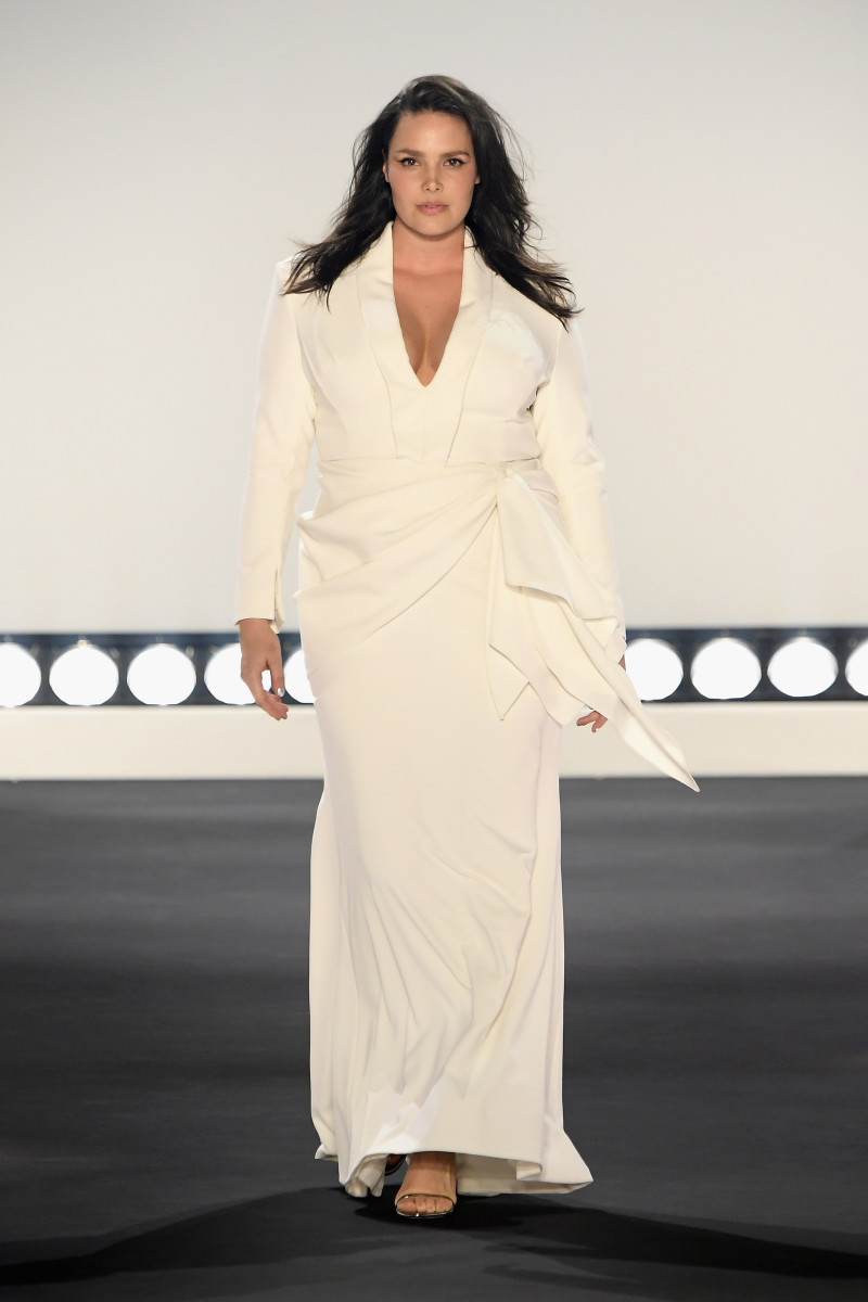 Model Candice Huffine walked the runway for 11 Honoré's first fashion show during New York Fashion Week in February 2019.