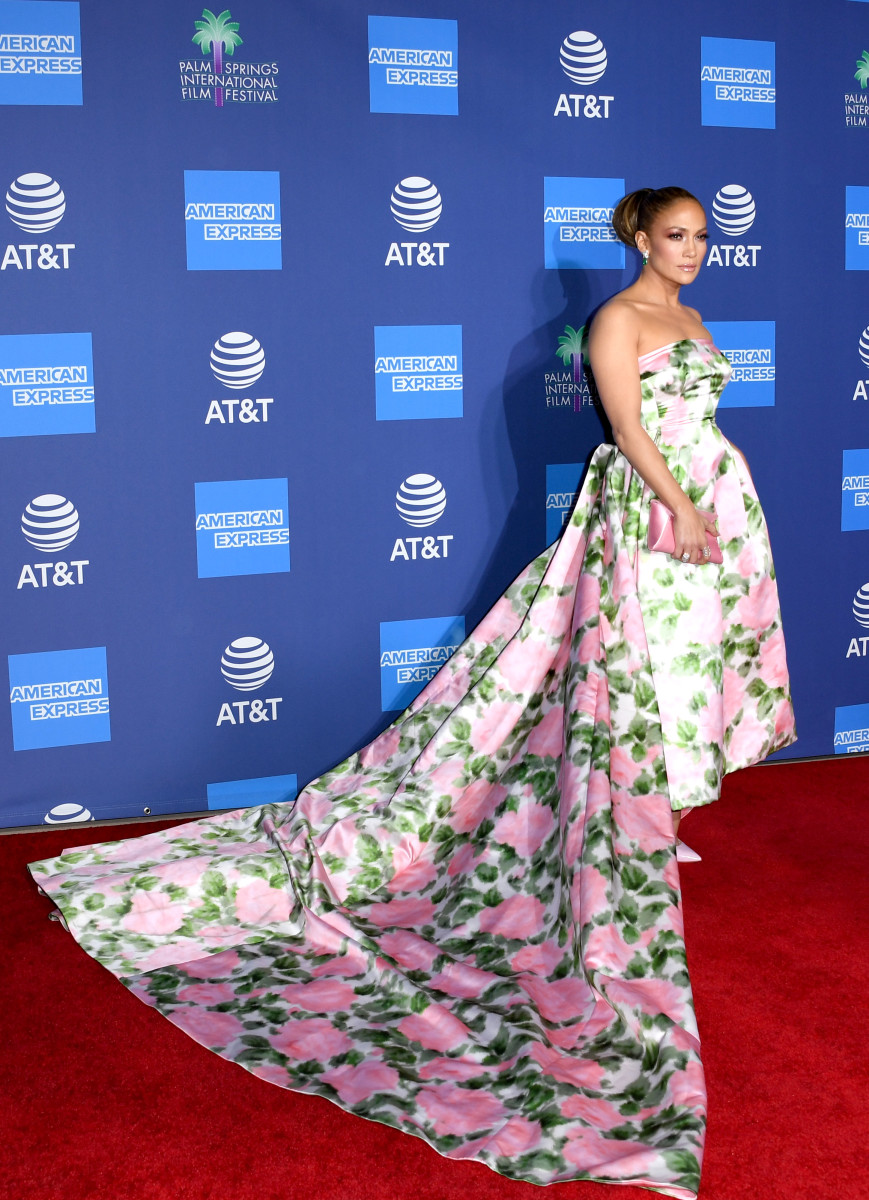 J.Lo wearing Richard Quinn at the 2020 Palm Springs International Film Festival gala.