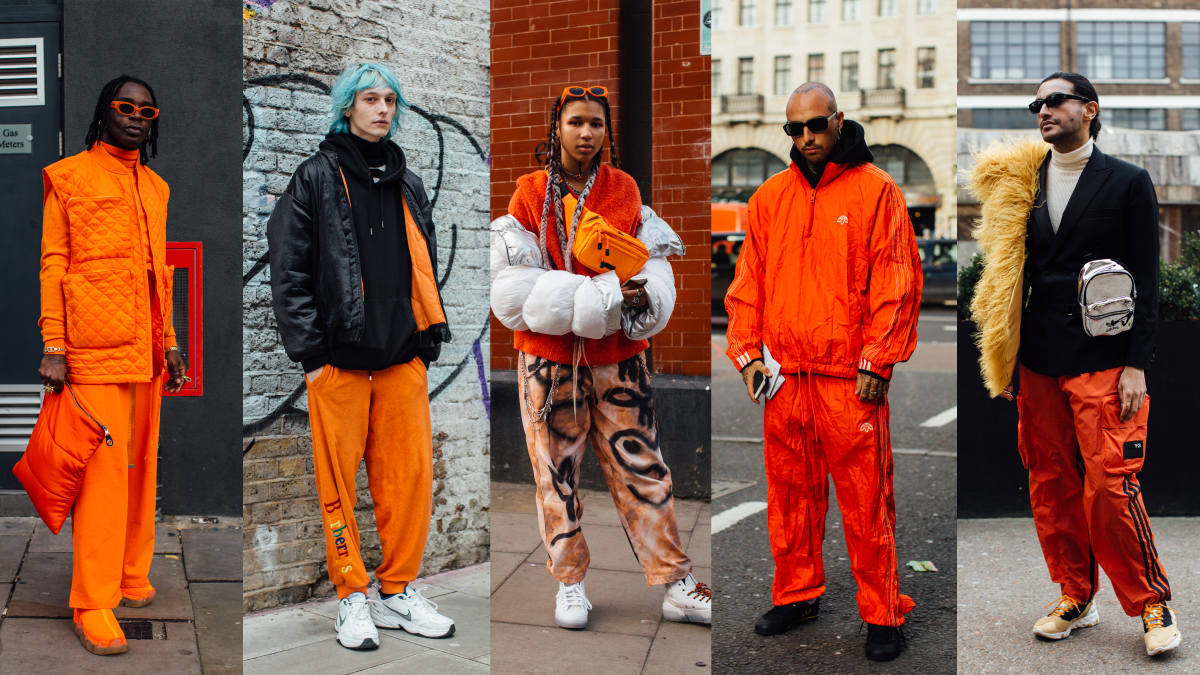 On the street at London Fashion Week Men's Fall 2020.