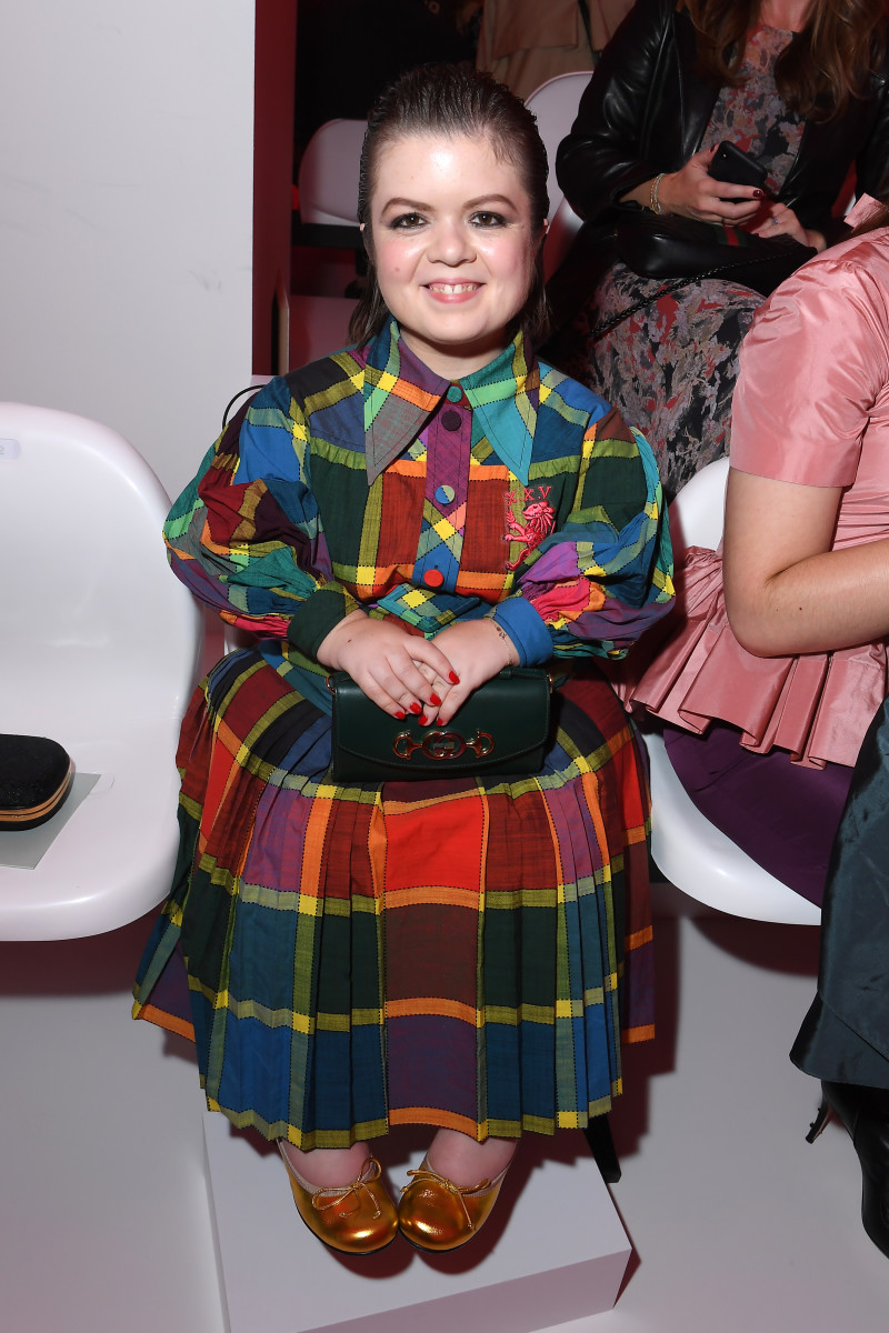 Sinéad Burke front row at Gucci's Spring 2020 show.