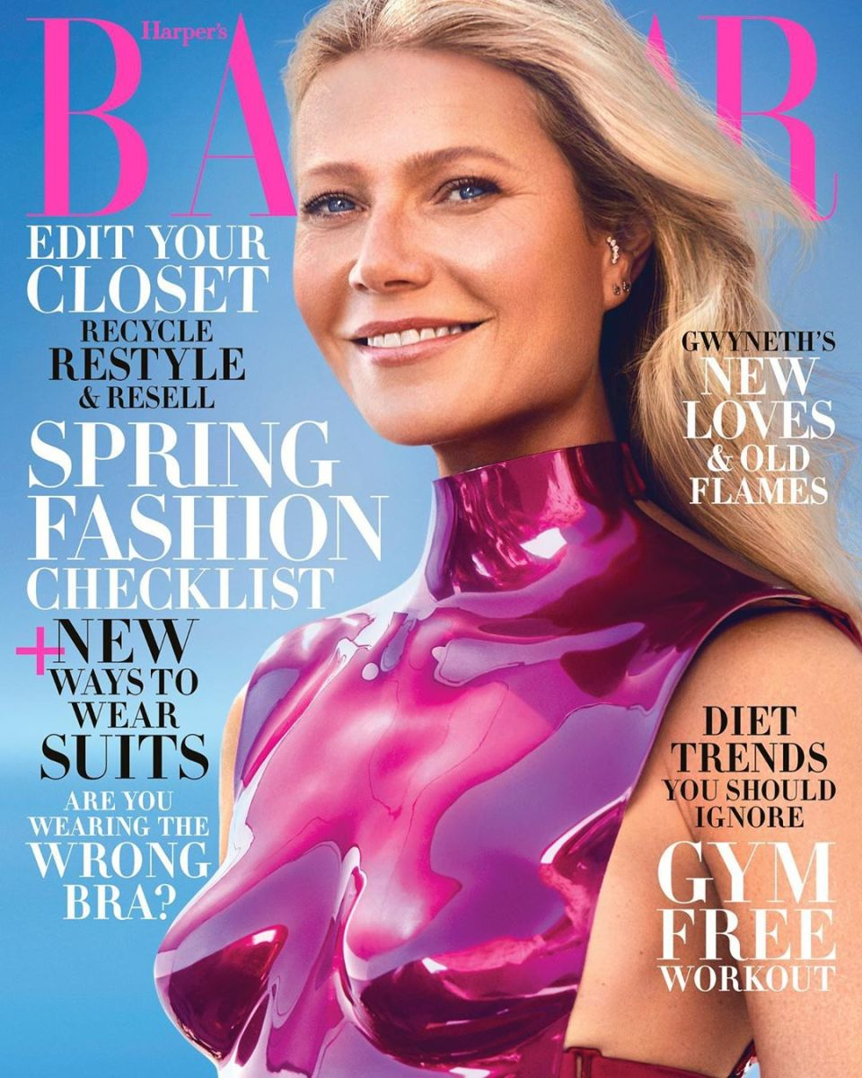 "Gwyneth Paltrow in Tom Ford on the February 2020 cover of ""Harper's Bazaar."""