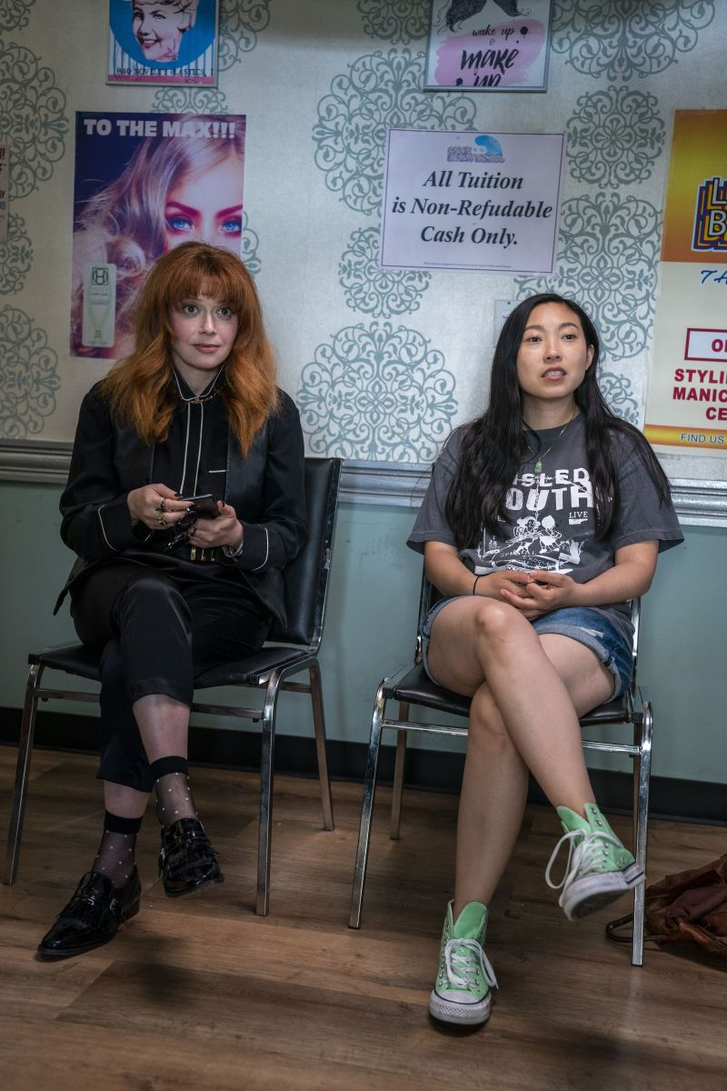 'The graphics] were a little angry, a little weird,' says Greenbaum about the 'Misled Youth' T by Los Angeles-based Electric Koolaid worn by Nora, next to guest star Natasha Lyonne, who also directs an episode.