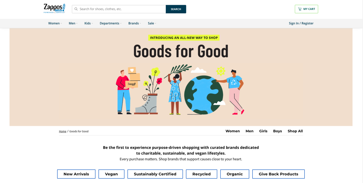 Zappos's Goods for Good landing page.