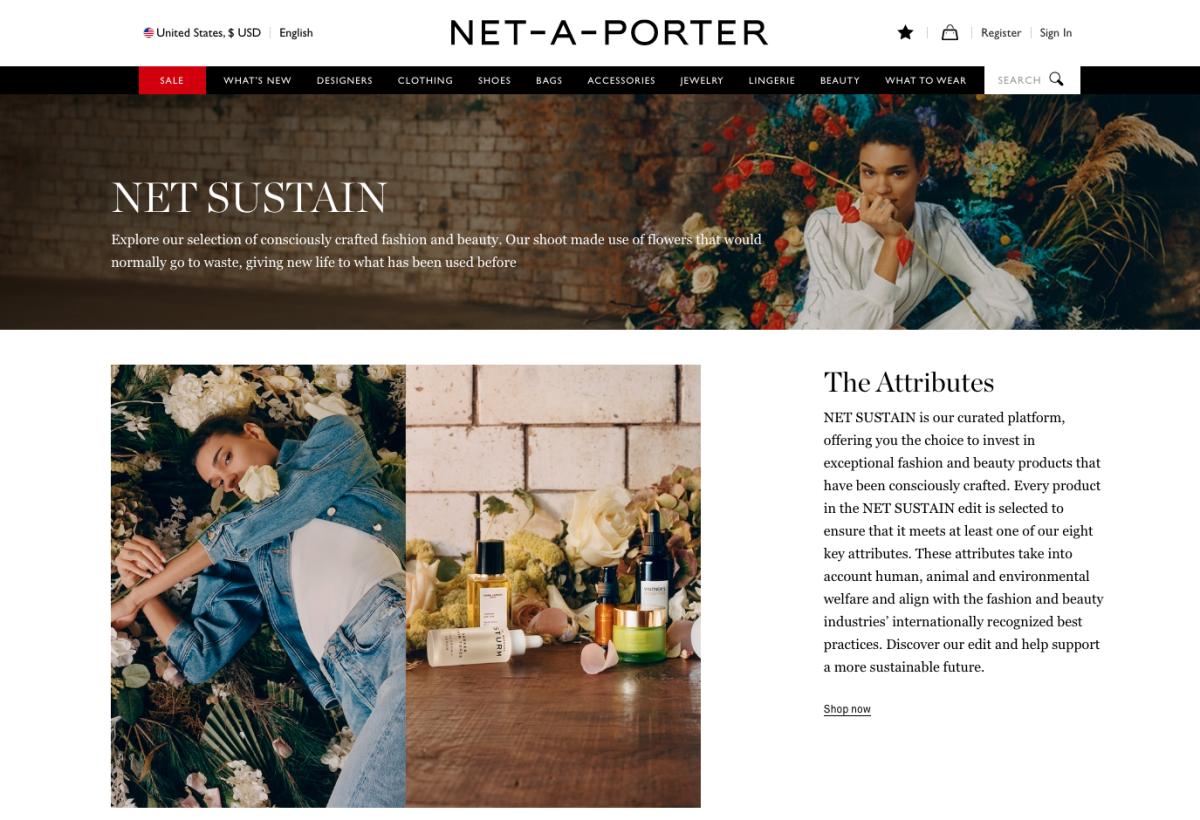 Net-a-Porter's Net Sustain landing page.