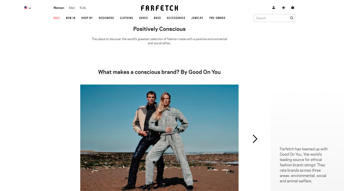 Farfetch's Positively Conscious landing page.