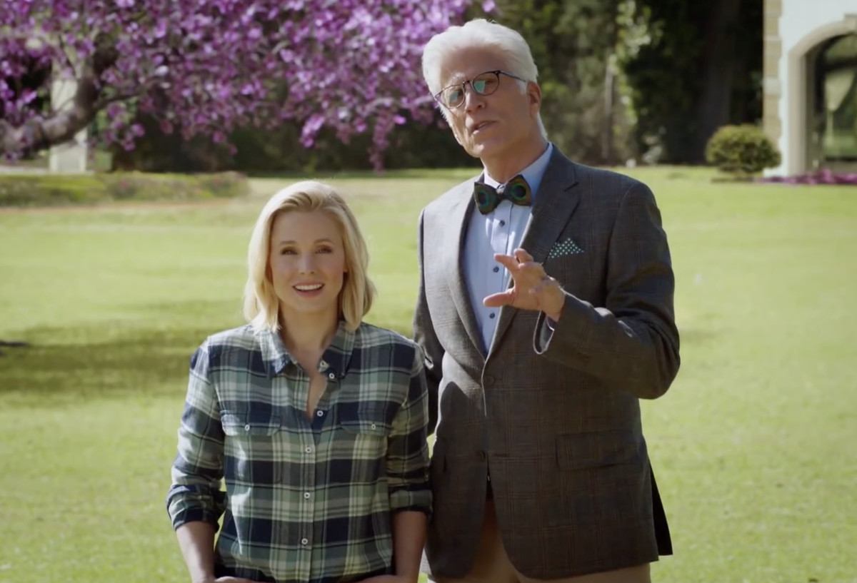Michael (Ted Danson, right) shows Eleanor (Kristen Bell) her supposed dream home, complete with clown paintings, in the supposed Good Place.