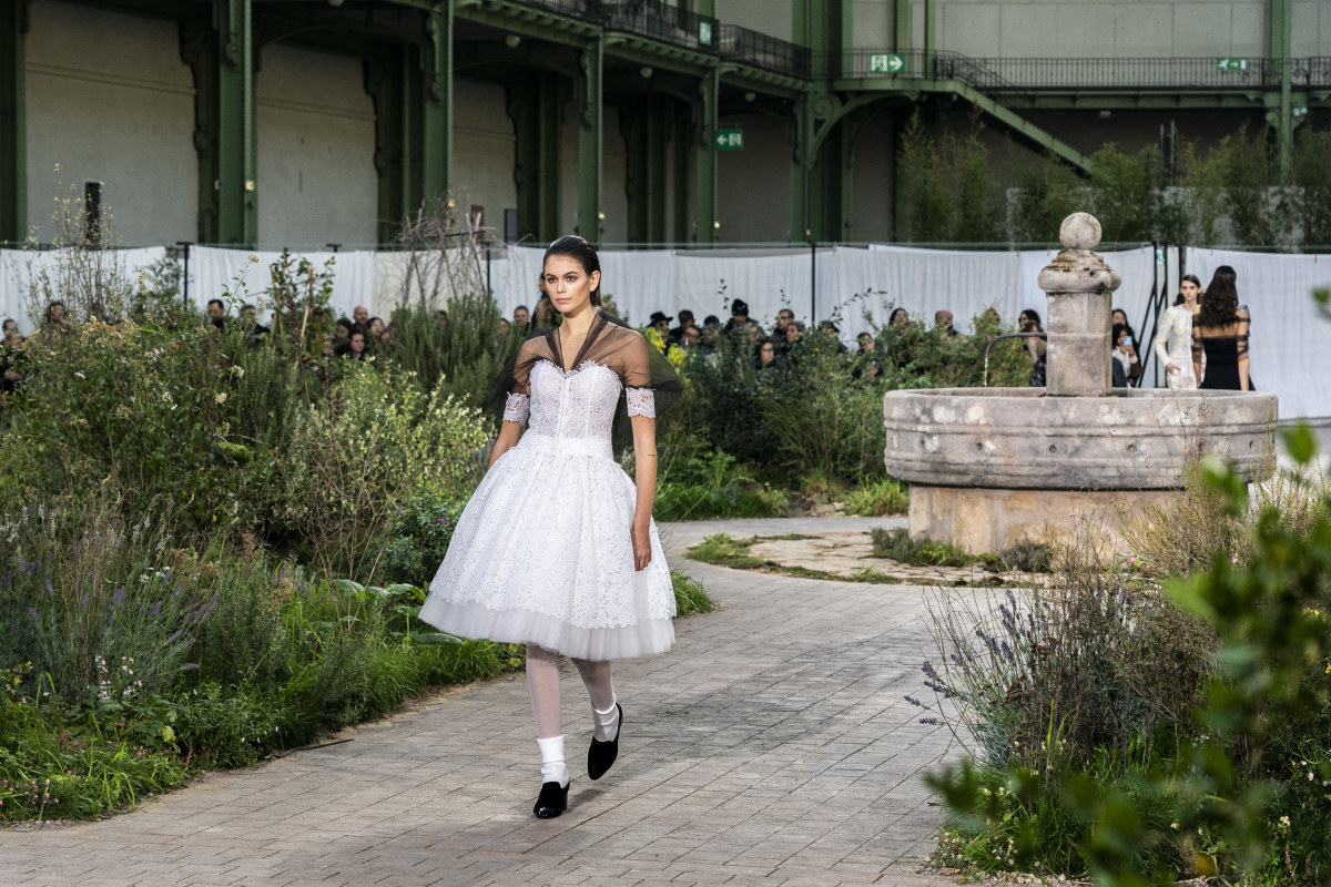 Kaia Gerber on the runway at Chanel's Haute Couture Spring 2020 fashion show in Paris.