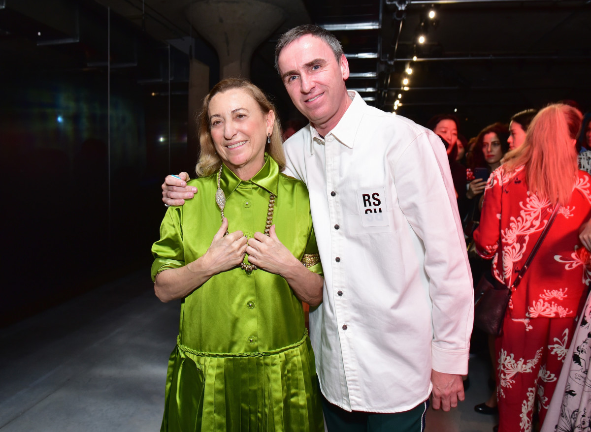 Simons with Miuccia Prada at the brand's Resort 2019 event in New York.