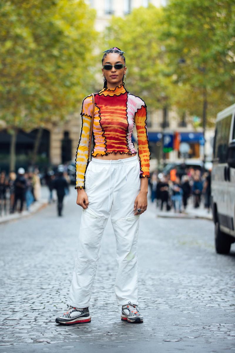 Model Indira Scott in a top by U.K.-based brand ASAI during Paris Fashion Week in September 2019.