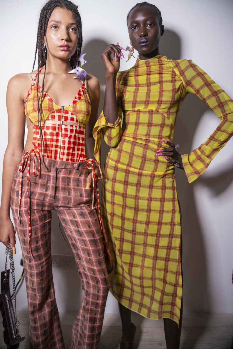 Backstage at Charlotte Knowles' Spring 2020 show during London Fashion Week.