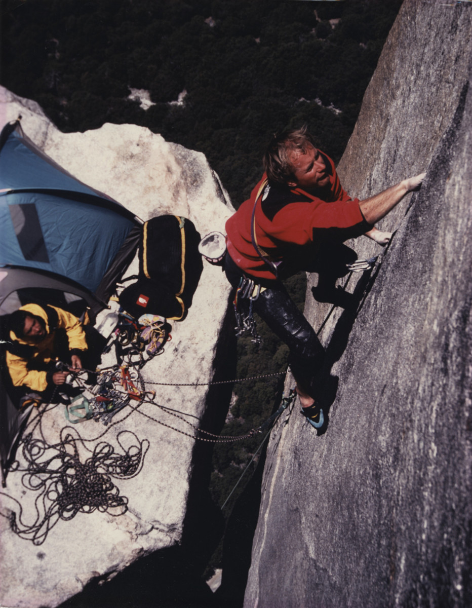 The North Face's iconic Denali jacket in action, climbing Yosemite National Park's Salathé Wall in 1995.