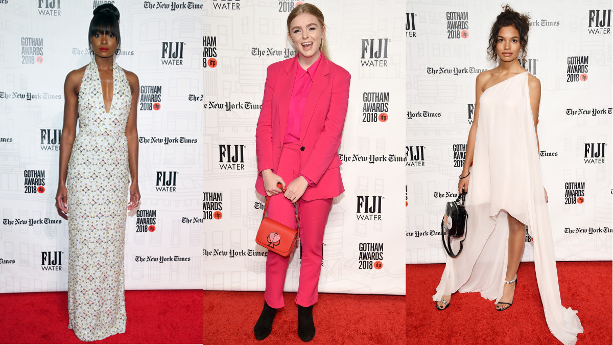 Kiki Layne in Miu Miu, Elsie Fisher in A.L.C. and Helena Howard in Calvin Klein by Appointment at the 2018 Gotham Awards. Photos: Getty Images