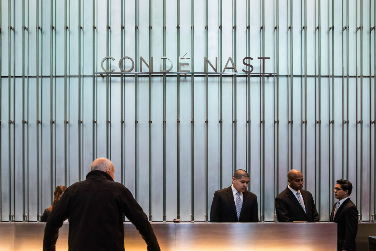 Condé Nast's front desk at One World Trade Center in New York City. Photo: Andrew Burton/Getty Images