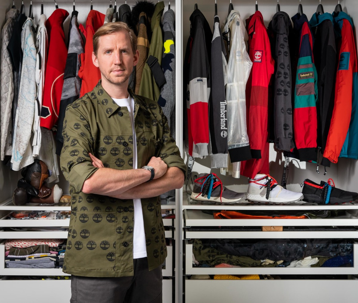 Christopher Raeburn with pieces from his first Timberland collaboration. Photo: Courtesy of Timberland