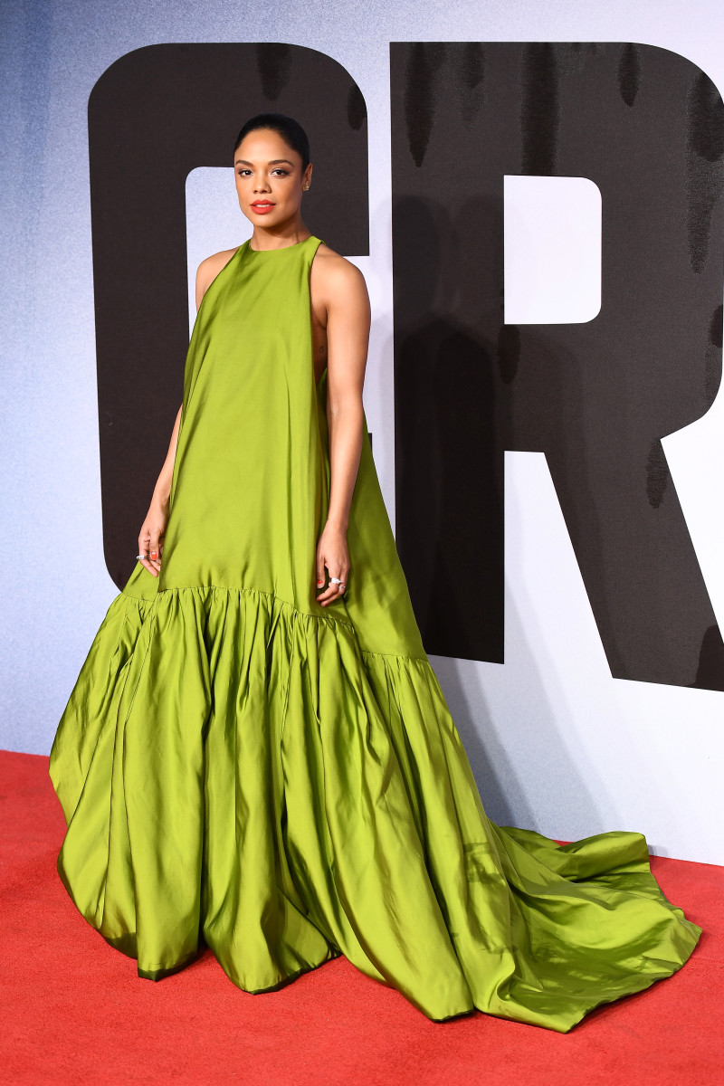 "Tessa Thompson in Valentino at the European premiere of ""Creed II"" in London in 2018."