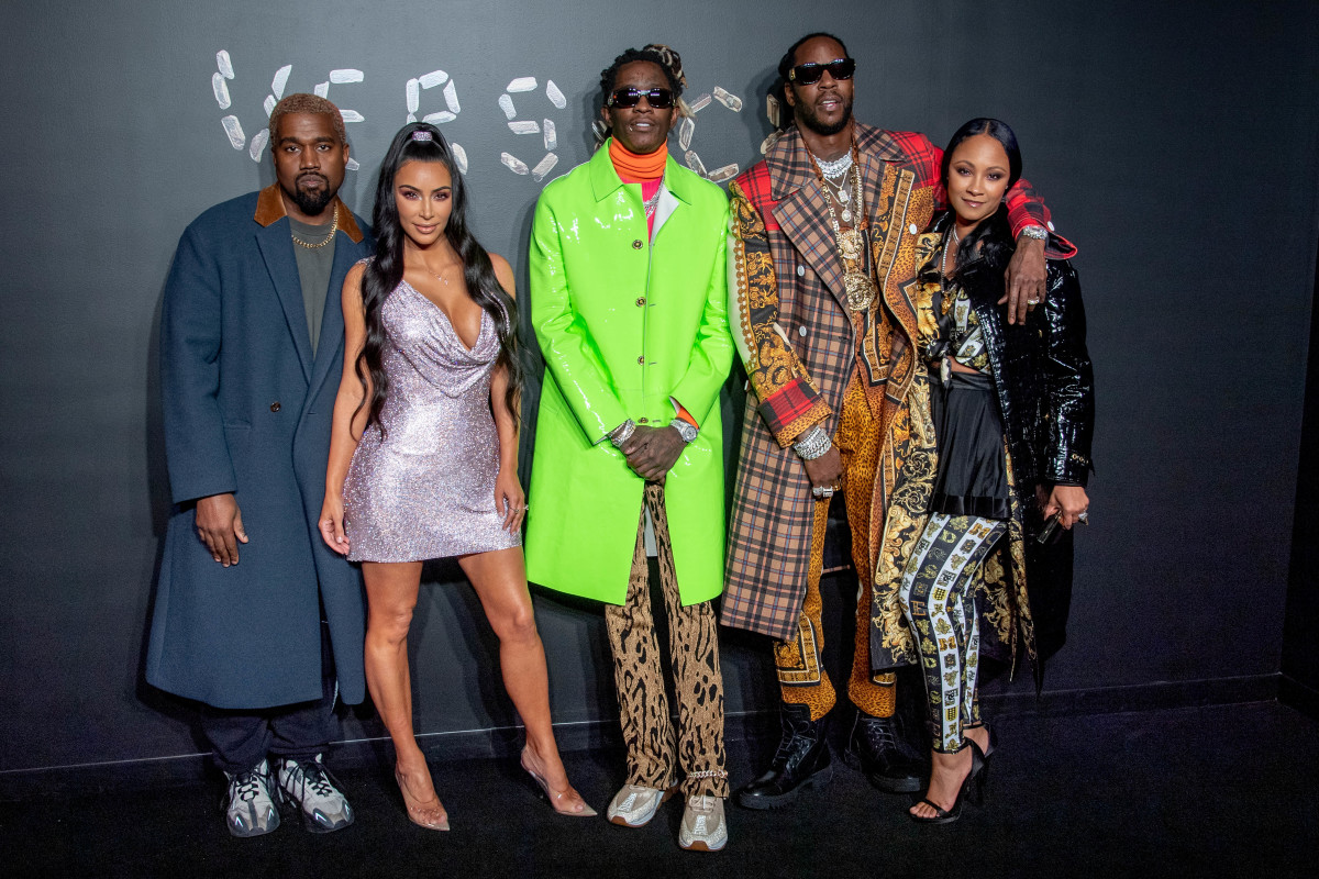 Kanye West, Kim Kardashian West, Young Thug, 2Chainz and Kesha Ward at Versace's Pre-Fall 2019 runway show. Photo: Roy Rochlin/Getty Images