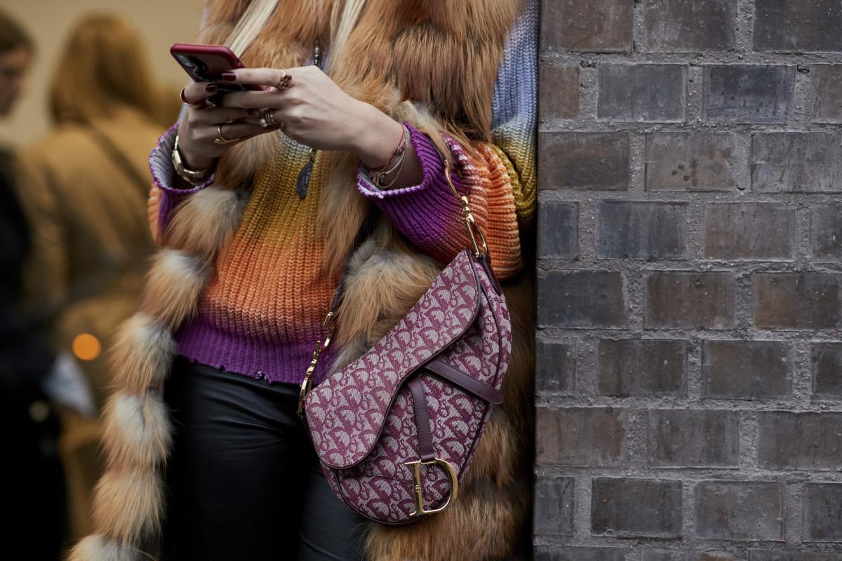A Dior Saddle Bag spotted at fashion week. Photo: Imaxtree