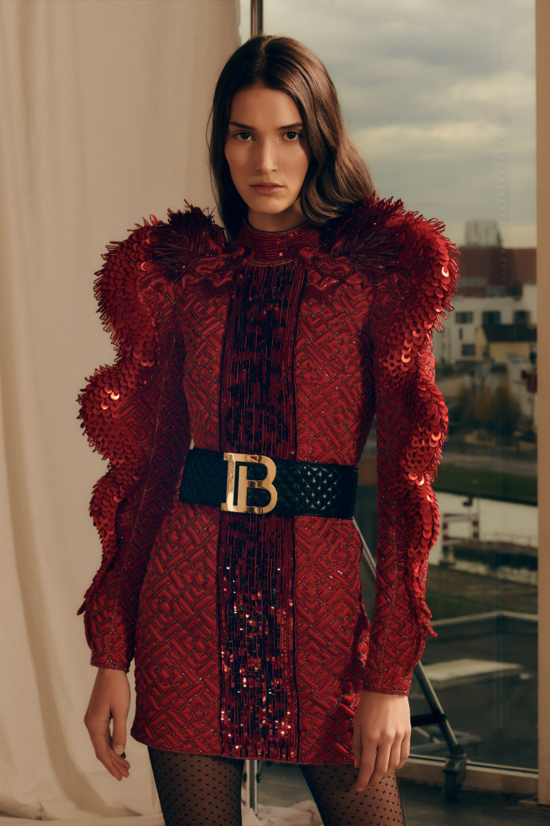 A look from Balmain's Pre-Fall 2019 collection featuring its new monogram. Photo: Courtesy of Balmin