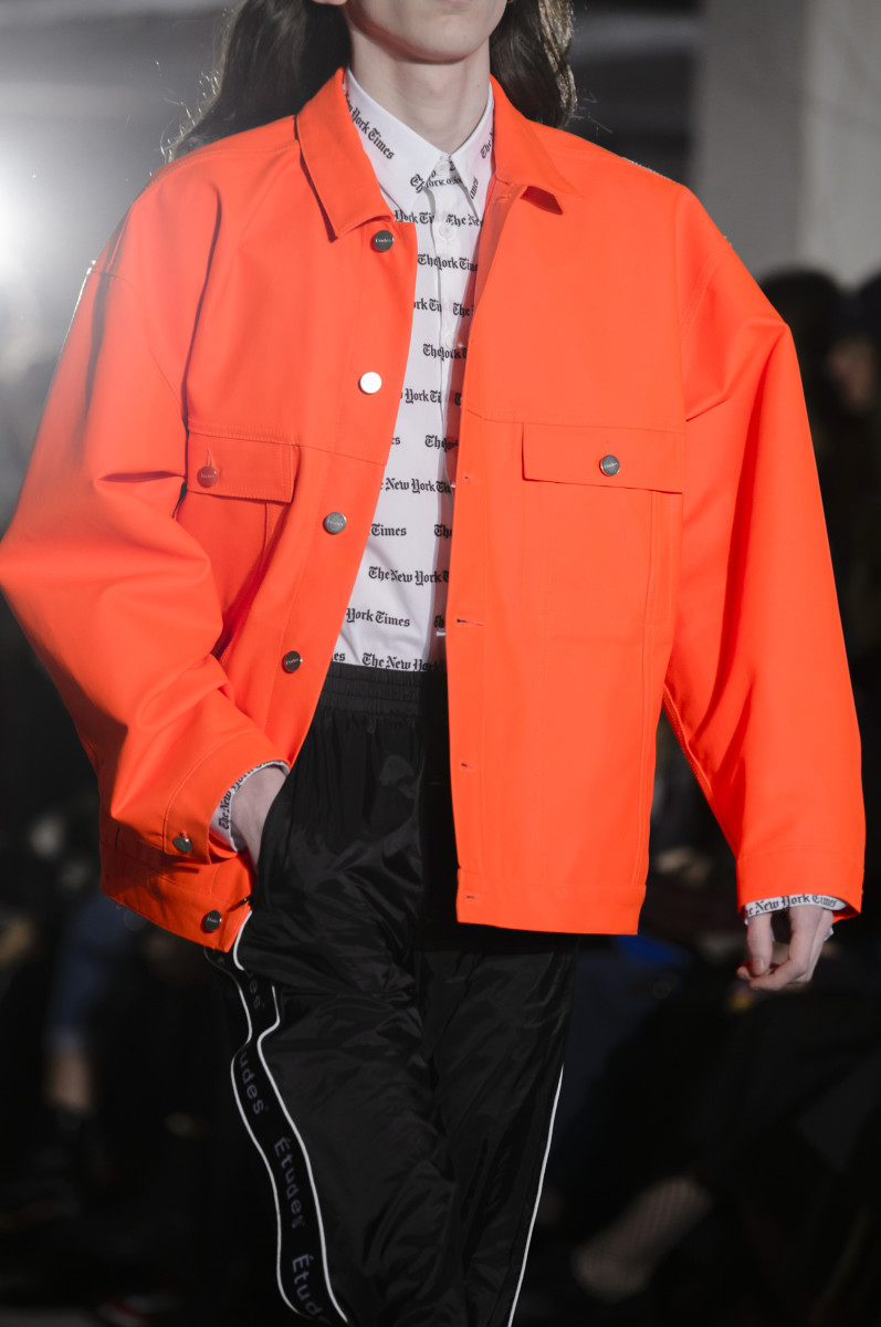 "A piece from Études's collaboration with ""The New York Times,"" shown during the French label's Fall 2018 runway show during Paris Fashion Week Men's in January 2018. Photo: Imaxtree"