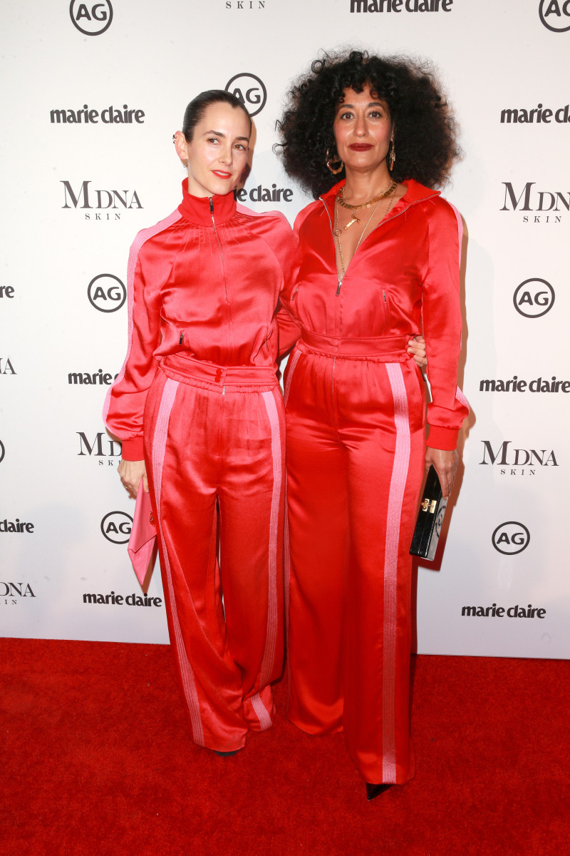 "Stylist Karla Welch and Tracee Ellis Ross in matching Valentino tracksuits at ""Marie Claire""'s 2018 Image Makers Awards. Photo: Rich Fury/Getty Images"