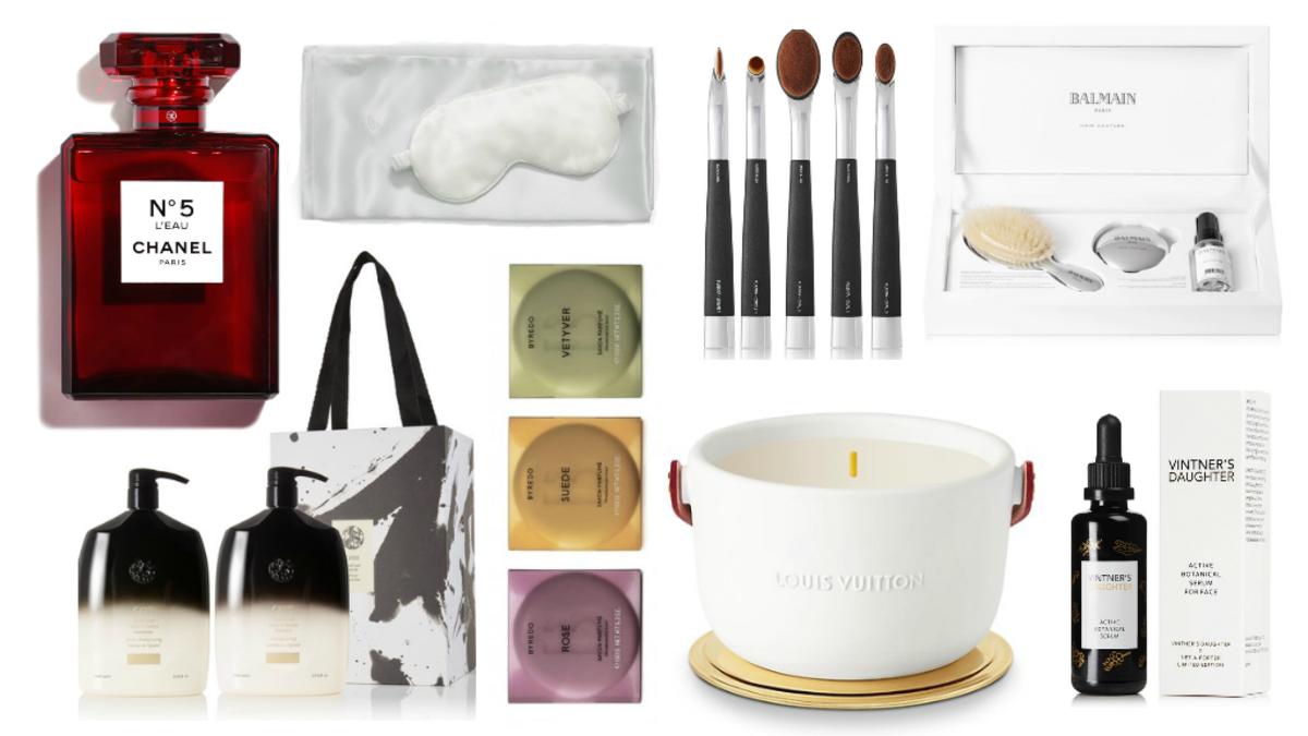 Photos (clockwise from the top left): Courtesy of Chanel, Brooklinen, Artis, Balmain, Oribe, Byredo, Louis Vuitton and Vintner's Daughter.