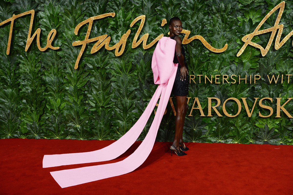 Alek Wek in Emilia Wickstead at the 2018 Fashion Awards in London, England. Photo: Jeff Spicer/BFC/Getty Images for BFC