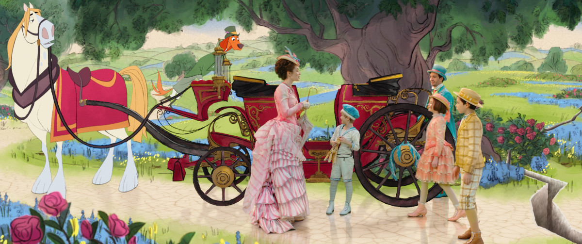 Mary, Georgie (Joel Dawson), Anabel (Pixie Davies), Jack (Lin-Manuel Miranda) and John (Nathanael Saleh). Photo Courtesy of Disney