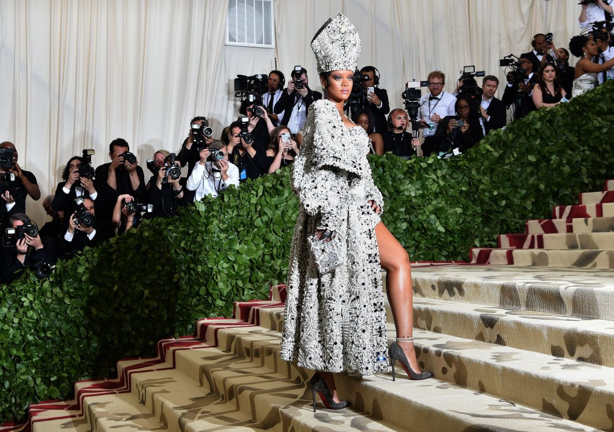 "Rihanna in a very papal Maison Margiela look at the 2018 Met Gala, ""Heavenly Bodies: Fashion and the Catholic Imagination."" Photo: Hector Retamal/AFP/Getty Images"