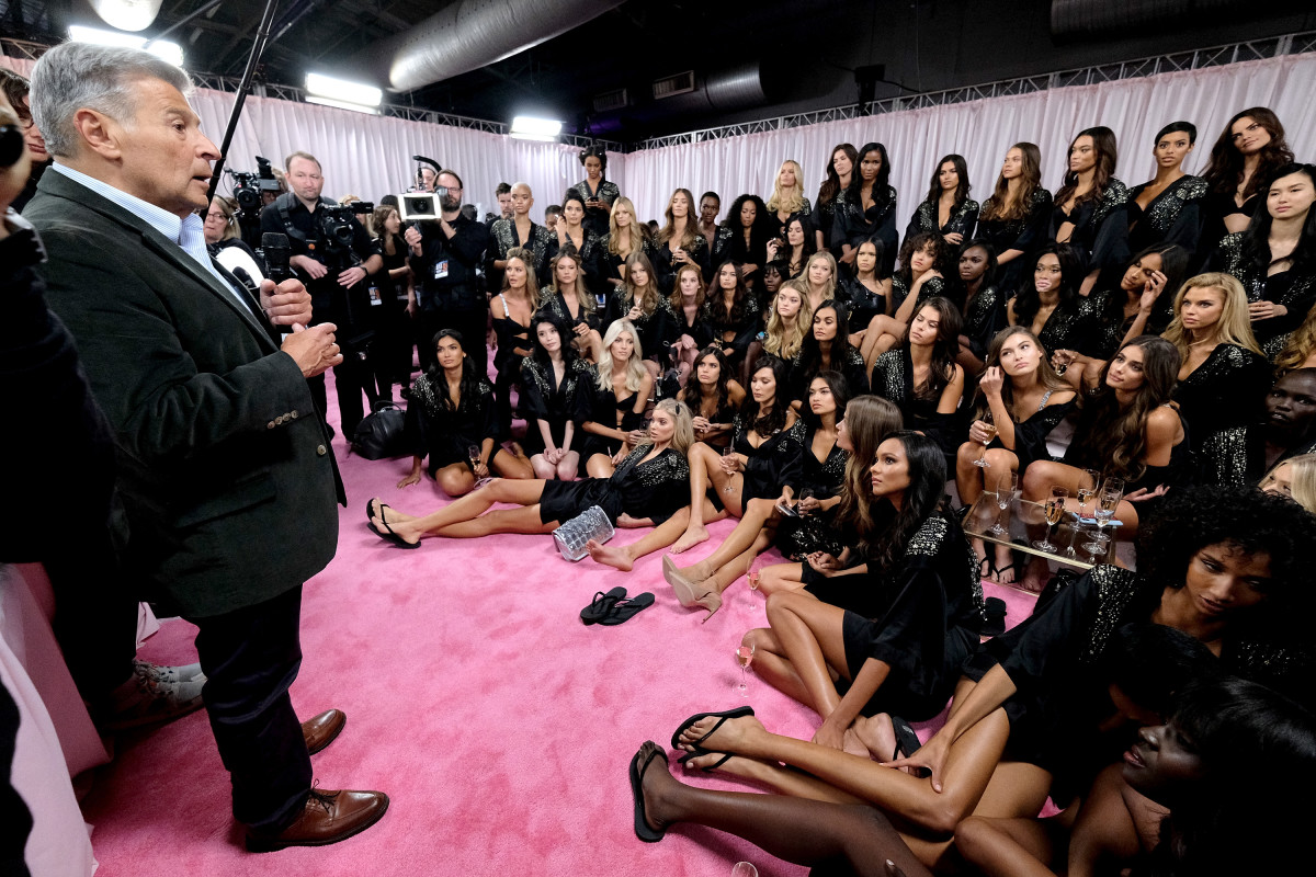 Ed Razek backstage at the 2018 Victoria's Secret Fashion Show. Photo: Dia Dipasupil/Getty Images