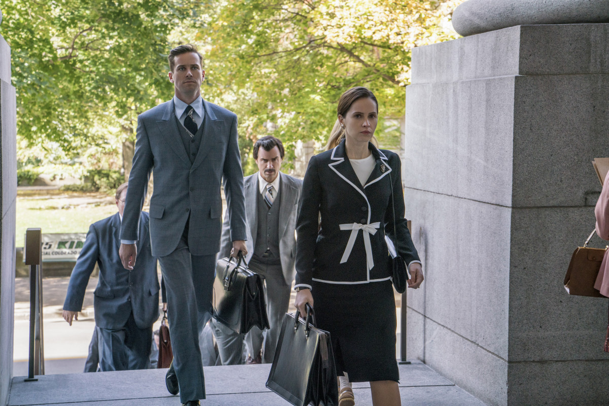 "Marty Ginsberg (Armie Hammer) and Ruth. Mussenden custom-made Harmmer's costumes, including some ties in order to fit the 6' 5"" actor. Photo: Jonathan Wenk / Focus Features"