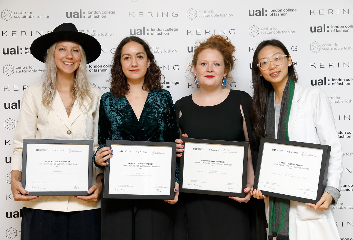 The Kering Award for Sustainable Fashion winners (L-R): Jenni Kusowski, Laure Fernandez, Charlie Wilkinson and Dianjen Lin, during the 2017 Kering Talk at the London College of Fashion. Photo: Tristan Fewings/Getty Images for Kering