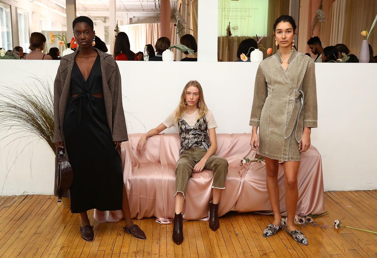 Looks from Nanushka's New York Fashion Week presentation in February. Photo: Astrid Stawiarz/Getty Images