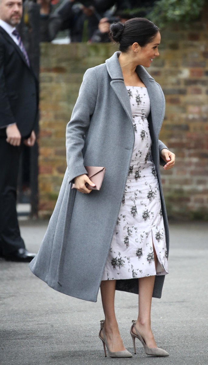 The Duchess of Sussex in a Soia & Kyo coat and Brock Collection dress during a visit to the Royal Variety Charity's at Brinsworth House in Twickenham, England. Photo: Chris Jackson/Getty Images