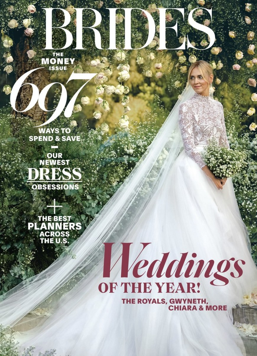 "Chiara Ferragni on the February/March 2019 cover of ""Brides."" Photo: David Bastianoni"