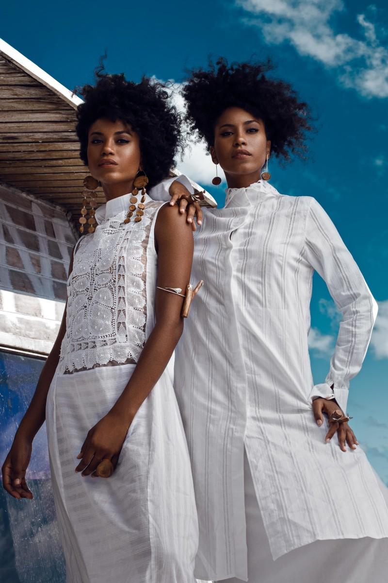Models Suzana and Suzane Massena wearing Carol Barreto's designs. Photo: Edgar Azvedo and Rafael Zu/Courtesy of Carol Barreto
