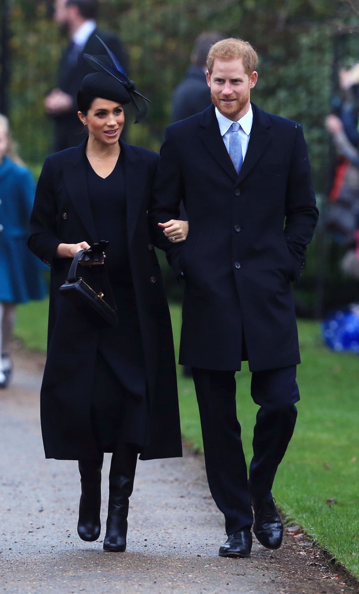 Meghan Markle, the Duchess of Sussex, in Victoria Beckham and Prince Harry, the Duke of Sussex, arriving to a church service on Christmas Day in England. Photo: Stephen Pond/Getty Images