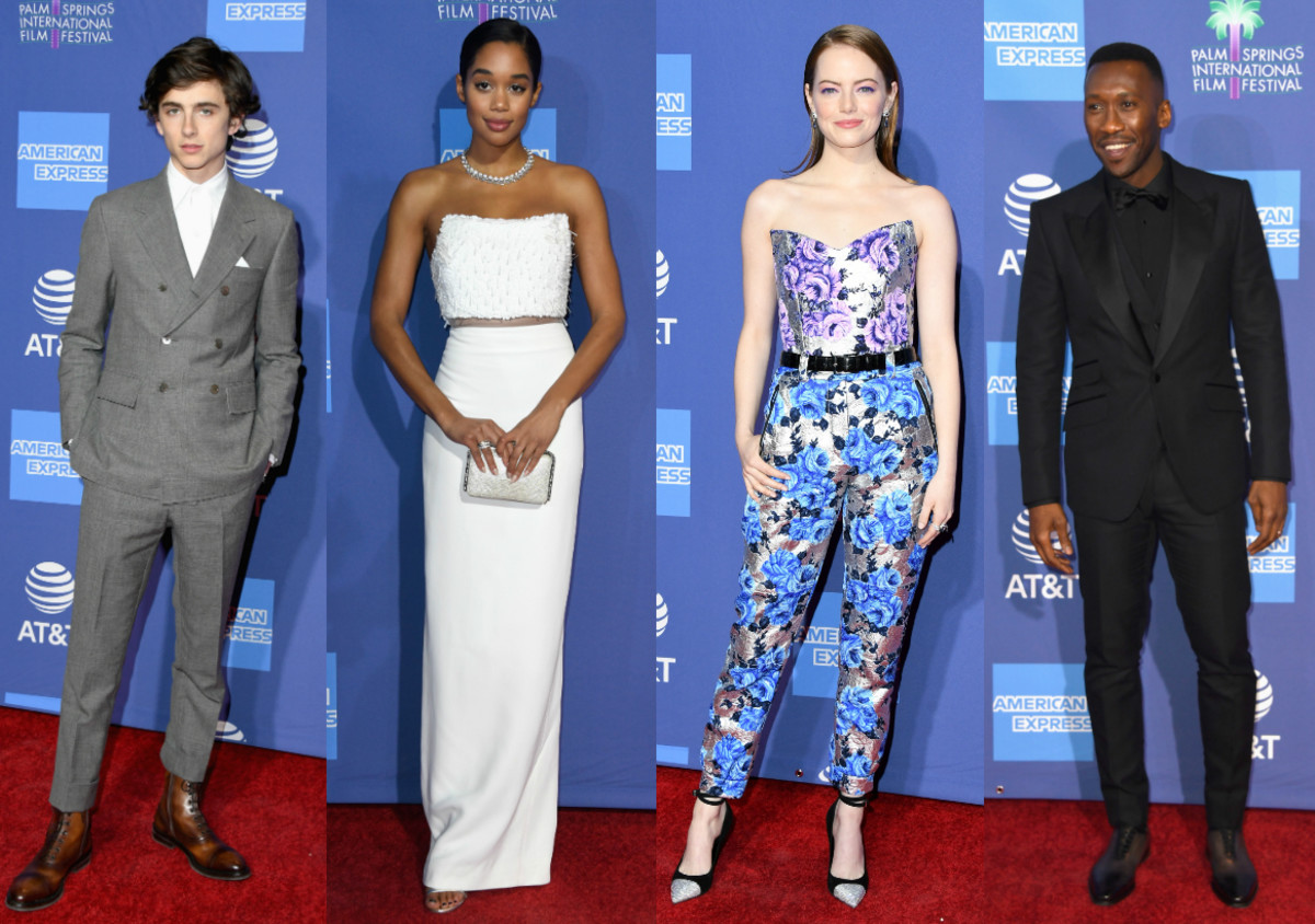 Timothée Chalamet, Laura Harrier, Emma Stone and Mahershala Ali at the Palm Springs International Film Festival. Photos: Getty Images